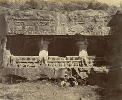 Ellora. Exterior of the Jugnath Subha (or Court of Juggurnauth)